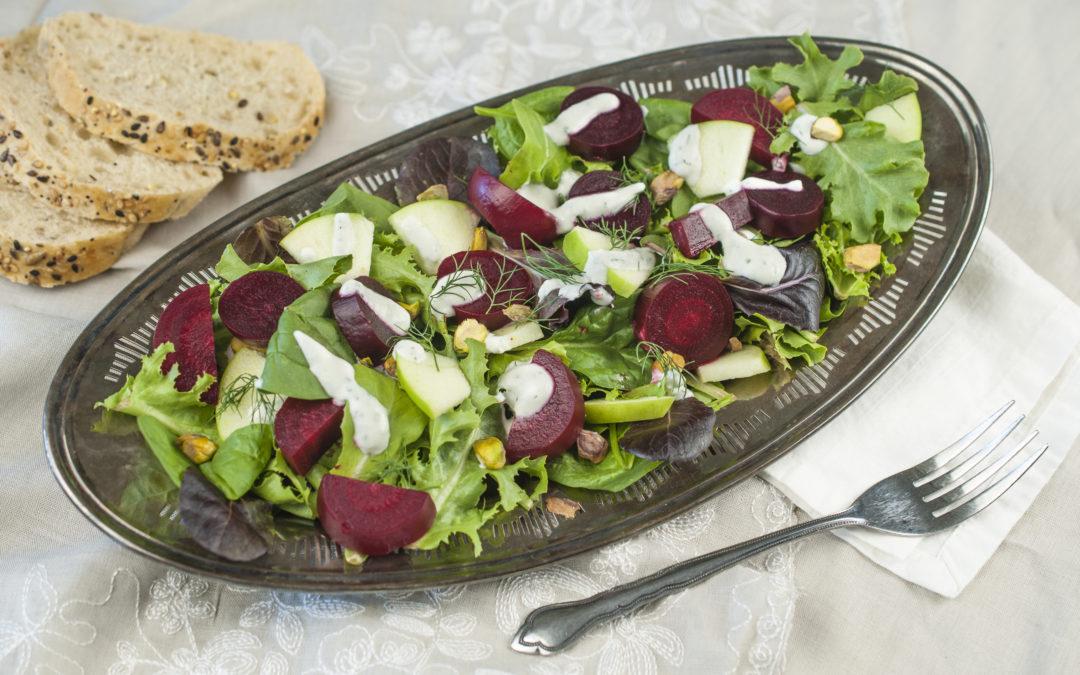 Beet Salad with Creamy Feta Dressing